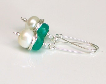 Emerald Green Onyx and White Pearl Dangle Earrings, Duality Earrings Bound in Sterling, May Birthday, Long Self Latch Wire Wrapped Earrings