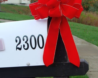 Christmas Bow, Mailbox Decor, Christmas Decoration, Weatherproof Christmas Bows, Outdoor Ribbon