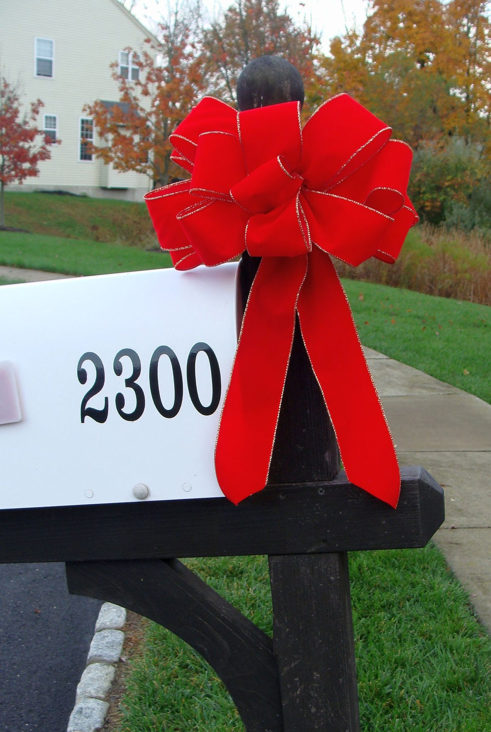 Christmas Decoration For Mailboxes : Christmas bow mailbox decor decoration