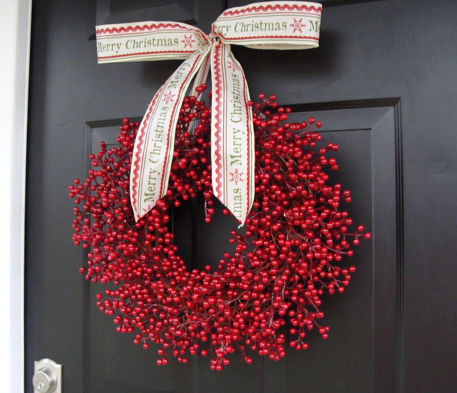 Red berry wreath christmas decor christmas wreath berry for Artificial cranberries decoration