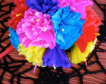 Colorful 10 Paper Carnation Flower Bouquet - Perfect for a gift or to add to your Day of the Dead altar