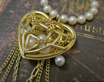 SALE The One that Got Away: Heart Necklace Vintage Assemblage Choker Pearls in Gold Heart Cage Whimsical One of a Kind ooak Statement
