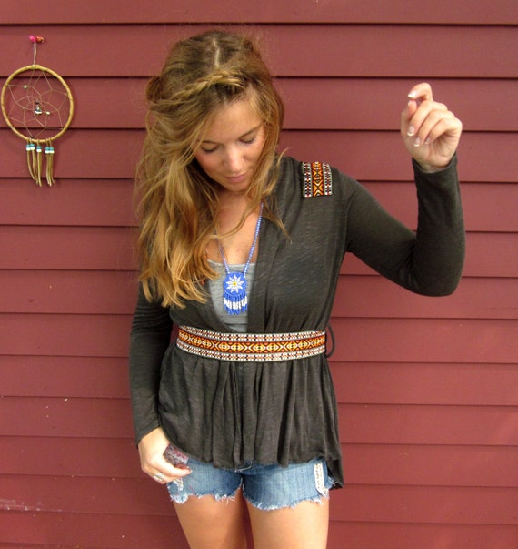 Native Dreamer Dark Gray and Woven Trim and Suede Kimono Ballet Hippie Boho Wrap Top Sweater by MountainGirlClothing