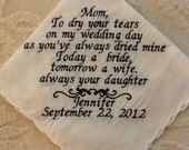 THREE HANDKERCHIEFS  Mother of the Bride, Father, Mother in law, Personalized Embroidered Handkerchief