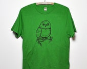 SALE- Organic Owl Tee- Unisex- Earth Green