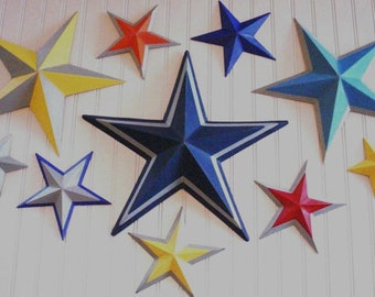 Magazine featured Tin Star Set... Nursery, Boys Room, Girls Room... Primary Colors of Red, Yellow, Blues and... Room Decor, Wall Art