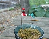 Glass Fairy Garden micro-mini hummingbird AND feeder, Made to order