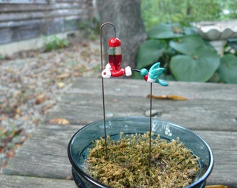 SALE Fairy garden supply, Glass Fairy Garden micro miniature hummingbird AND feeder, fairy garden accessories, terrarium, dollhouse