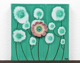 Mixed Media Mini Canvas Art Painting of Flowers in Pink and Jade Green - Gift for Girl - Mini 6x6