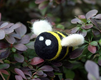 Wool Bee Handmade Needle Felt Decoration Soft Sculpture For Bee Lover Flying Insect Yellow Black Gift Under 10 - READY TO SHIP