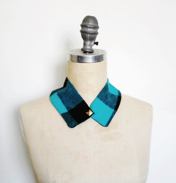 The Collar Necklace, Detachable Collar in Turquoise Buffalo Plaid