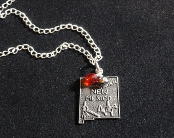New Mexico Lobos Sterling Silver Map Vintage Charm Pendant Necklace with Red & Silver Beads, New Mexico Necklace,  New Mexico Map