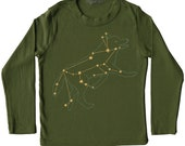 Sale Lupus Wolf constellation Shirt, animal star space astrology print, metallic gold foil unisex screenprint, olive green long sleeve