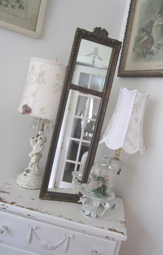 Vintage Mirror - Etched - Barbola Roses - Antique - Trumeau
