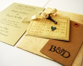 Wedding Invitations Romantic Shabby Wedding Invitation Keys Save the Date Initial Tag Tea Stained Ribbon Made to Order