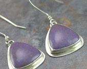 Sterling Jasper Earrings - Burro Creek Jasper Earrings - Lavender Stone Earrings