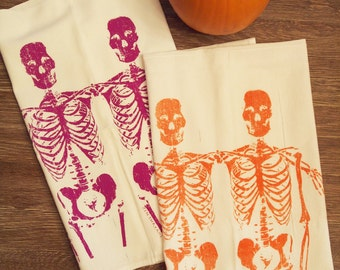 Towel Set - SKELETONS - Multi-Purpose Flour Sack Bar Towels - Renewable Natural Cotton