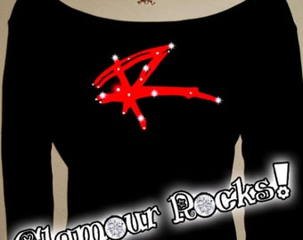 Red Rocker Shirt Band Concert  Rhinestone Crystal Off Shoulder Tee Shirt T Top bling Sexy Glamourrocks