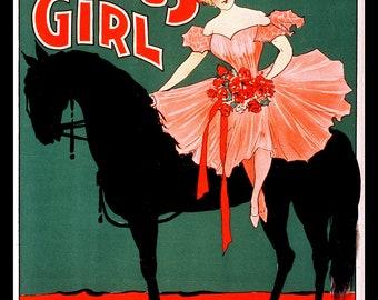 Circus Girl on Horseback Vintage Circus Poster - Giclee Fine Art Print