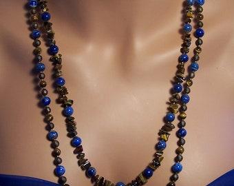 LAPIS beads TIGER EYE nuggets Necklace bn6 by Jaguar Goddess Designs