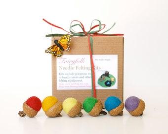 Needle Felting Kit Beginner - Felted Acorn Kit - DIY Craft Kit - Children - Kids