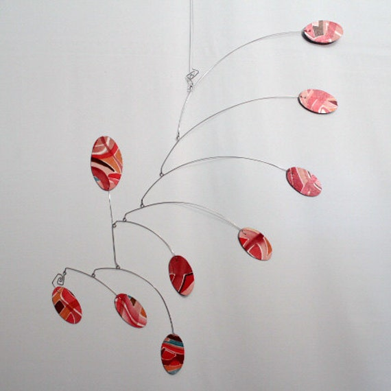 Hand Painted Art Mobile in Red- Original Hanging Sculpture - Kinetic Mobile