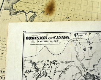1877 Antique Map of the Dominion of Canada - Eastern Sheet - Rare handcoloured map - Large