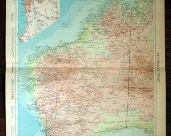 1958 Vintage Map of Australia - Australia Antique Map - West - With Inset of Perth