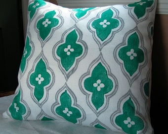 Teal and Gray ogee geometric decorative hand block printed white linen home colorful decor pillow case by giardino