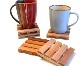 4 Coffee Coasters - - the ORIGINAL Drink Coasters - Beverage Pallets Made From Reclaimed Wood Pallets - 4coaster set