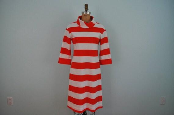 vintage striped dress wide red stripes S