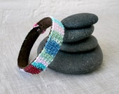 Crochet Cuff Bracelet, Wrap Bracelet,  Mens Bracelet, Suede Lined Bracelet, Fiber Art Bangle Bracelet