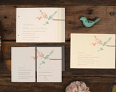 Love Birds Wedding Invitations - Art Deco Mint Modern Blossom Invite
