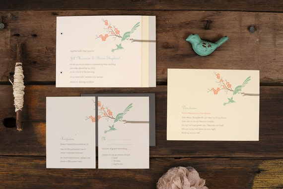 Love Birds Wedding Invitations: Love Birds Wedding Invitations Art Deco Mint Modern Blossom