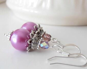 Orchid Pearl Earrings, Bridesmaid Earrings, Purple Wedding Jewelry,  Beaded Dangles, Bridesmaid Jewelry Sets, Orchid Wedding, Pinkish Purple