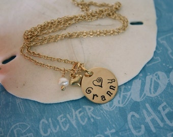 Grandma Necklace Personalized, Mother Necklace, Name Charm Gold,