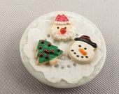 Dollhouse Miniature Christmas Cookies on Plate Santa Snowman Tree