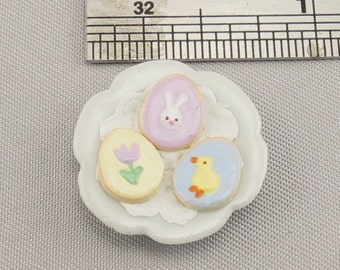Dollhouse Miniature 3  Easter Egg Cookies on Small Plate