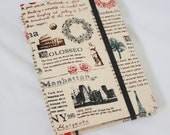 Travel Journal Notebook Rome Fabric Handstitch Coptic Stitch (Size A6)