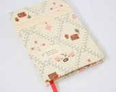 Journal Notebook Sweet House Chicken Flower Fabric Handstitch Coptic Stitch (Size A6)