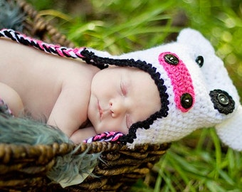 Newborn Photo Prop Baby Hat, Cow, White Beanie with Ear Flaps, Baby Costume, Crochet Beanie 0 - 3 Months MADE TO ORDER, Children Clothing