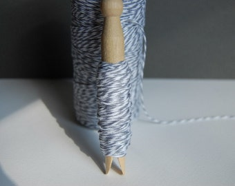 10 Yards Stone Gray Bakers Twine on a Clothespin--Crafts-Card and Tag Making-Favors-Gift Wrap-Bake Sale-Packaging-Shower Twine-Ready to Ship