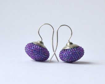 crocheted earrings  radiant orchid glass beads and silver925