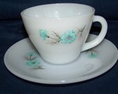 Vintage Fire King Bonnie Blue Cup and Saucer Sets...6 Sets...Mid Century...Cottage Chic...Coffee Cups...Tea Cups