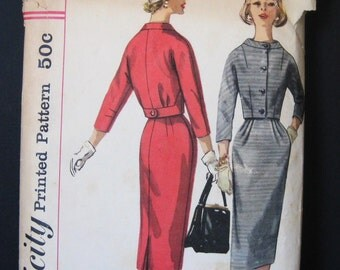 1950s Vintage Suit Simplicity 1954 Pattern, Paris Dutch Boy New Look, 2 Piece Dress, Cropped Jacket, Pegged Pencil Skirt, Date 1957, Bust 38