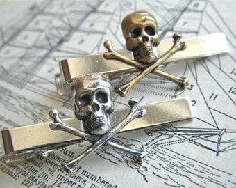 Skull Tie Bar Set Of 2 Skull & Crossbones Silver And Brass Gothic Victorian Steampunk Pirate Vintage Inspired Men's Accessories