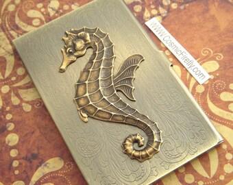 Brass Seahorse Business Card Case Nautical Steampunk Card Case Antiqued Brass Metal Case Gothic Victorian Florentine Scroll