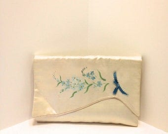 Vintage Satin Cream & Blue Lingerie Bag
