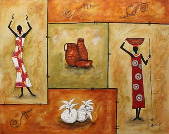 "african art painting folk art painting, Latin American Art ""Styles"" Original Art  Painting   Abrstract Acrylic  Modern  - By Maite"