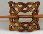 Leather Celtic Square Knot Hair Barrette